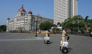 Policemen riding Segways in Mumbai