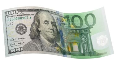 €100 bill merged with €100 note © 	Getty Images/iStockphoto