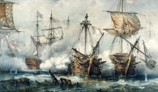 1850 painting of the battle of Trafalgar
