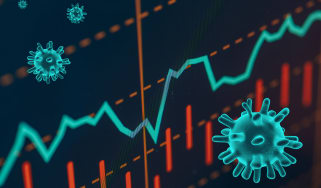 Investment graph trending upwards with COVID-19 particles