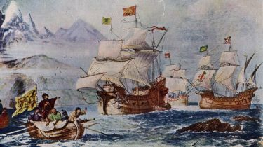 Ferdinand Magellan discovering the path to the Pacific