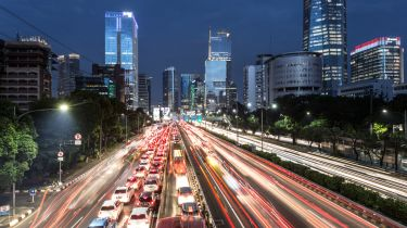 Light trails from traffic in Jakarta, Indonesia