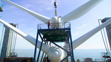 Wind turbine installation, Kentish flats windfarm