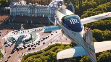 Rolls-Royce branded plane over Buckingham Palace