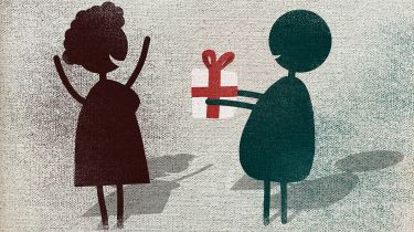 Illustration- man giving a woman a gift