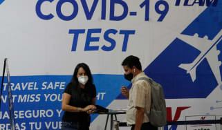 PCR testing at an airport in Mexico