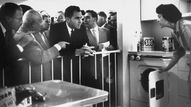 Nikita Khrushchev and Richard Nixon in a heated ideological debate beside a model kitchen © Howard Sochurek/The LIFE Picture Collection via Getty Images