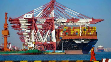 Container ship at Qingdao port in China