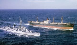 USS Vesole escorting the Soviet freighter Potzunov