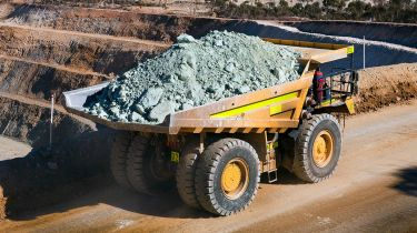 Mining dump truck loaded with nickel ore