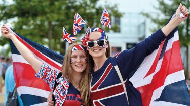 Fans in flags outside the London Olympics