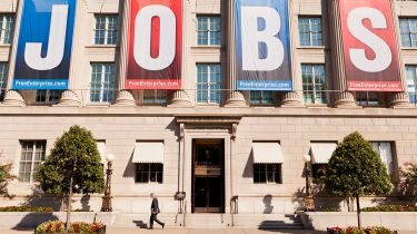 Large JOBS banner on US Chamber Of Commerce Building