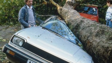 Cars crushed by falling tree © Georges De Keerle/Getty Images