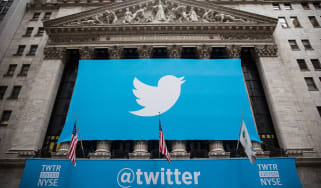 Twitter banner outside the New York Stock Exchange