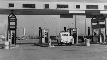 The toll gate at the entrance of the Dartford Tunnel