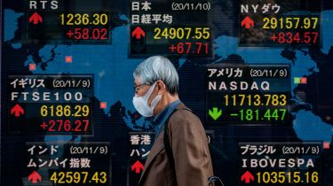 Electronic stock indices board in Tokyo