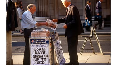 Evening Standard with a headline on the ERM crisis © In Pictures Ltd./Corbis via Getty Images