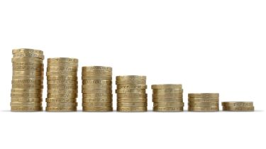 Shrinking piles of coins © Getty Images/iStockphoto