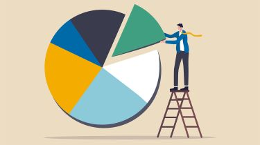 Illustration of a man adjusting a pie chart