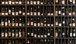 Shelves filled with bottles of wine