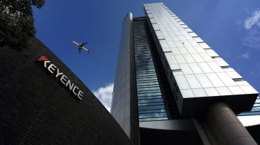 An aircraft flying over Keyence headquarters in Osaka © Yuzuru Yoshikawa/Bloomberg via Getty Images