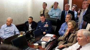 Obama and co watching a mission