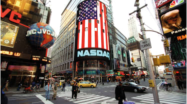 Times Square with Nasdaq display © Ulrich Baumgarten via Getty Images