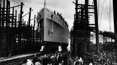 Launch of HMS Devonshire in Plymouth in 1927