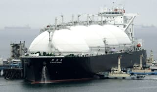 A ship carrying liquefied natural gas