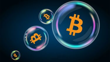 Bitcoin symbol in soap bubble