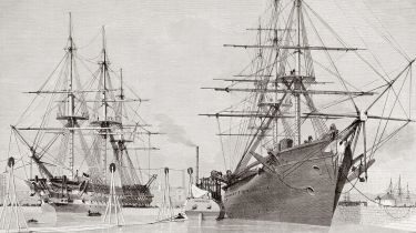 HMS Agamemnon (L) and USS Niagara (R) taking aboard cable