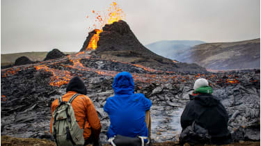 Tourists at Iceland's Fagradalsfjall volcano