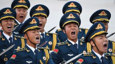 Chinese soldiers shouting