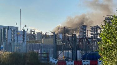 A fire at a National Grid site in Kent