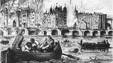 London Bridge on fire during the great fire of London. © Hulton Archive/Getty Images