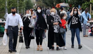 Family out walking in Tehran