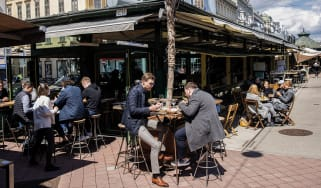 People at a street cafe in Vienna