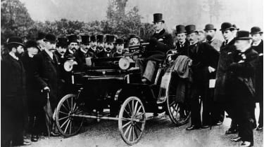 FR Simms at the wheel of a 4hp Cannstatt-Daimler, Crystal Palace © National Motor Museum/Heritage Images/Getty Images