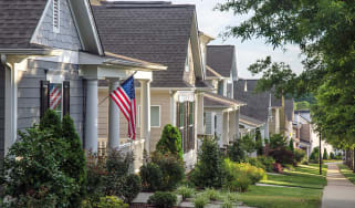Houses with American flags on them
